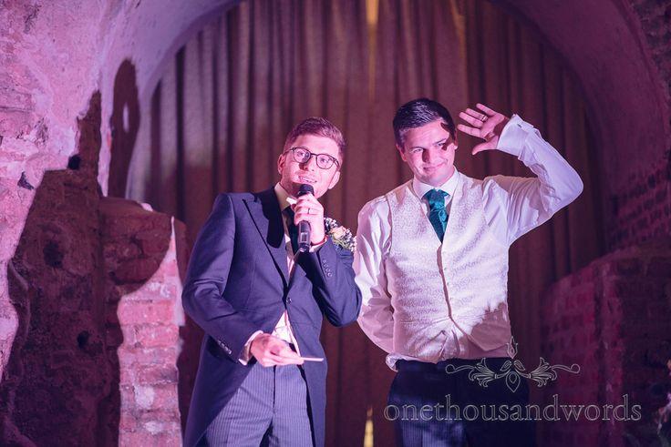 Best men make wedding speeches at Dorset Castle wedding photographs. Photography by one thousand words wedding photographers