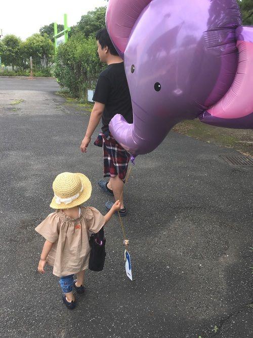 娘がゾウさんに会いたい!と言うので 東武動物公園に行ってきました〜 ʕ•ᴥ•ʔ 風船もゾウさん❤️