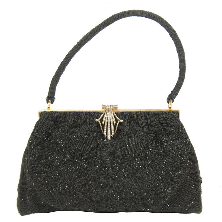 1950s Morabito Black Caviar Beaded Evening Bag   From a collection of rare vintage evening bags and minaudières at https://www.1stdibs.com/fashion/handbags-purses-bags/evening-bags-minaudieres/
