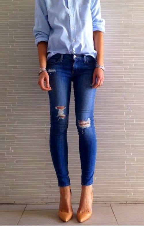 Chic nude heels, distressed skinny jeans, and a blue button down