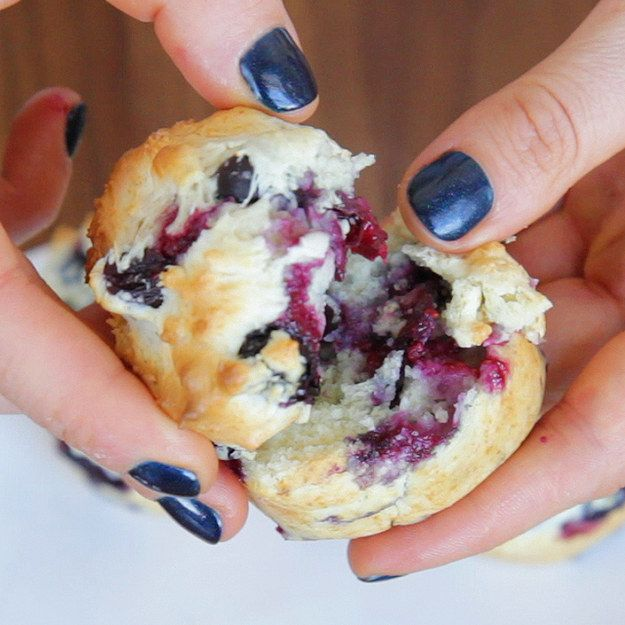 Here is a perfect blueberry muffin.