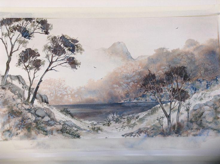 Mount Pillinger, Tasmania. Watercolour  2014