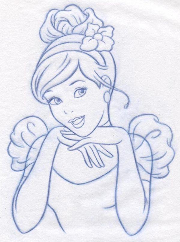 Картинка поэтапно принцессы диснея