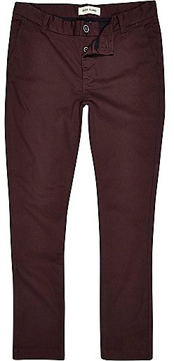 $20, Dark Red Skinny Stretch Chinos by River Island. Sold by River Island. Click for more info: http://lookastic.com/men/shop_items/148027/redirect