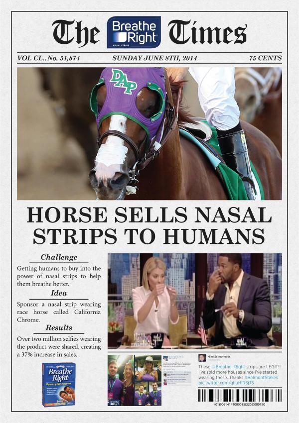 HORSE SELLS NASAL STRIP TO HUMANS 鼻孔を広げるテープを馬に貼ってニュース化することで、人が真似てセルフィーグッズになった事例