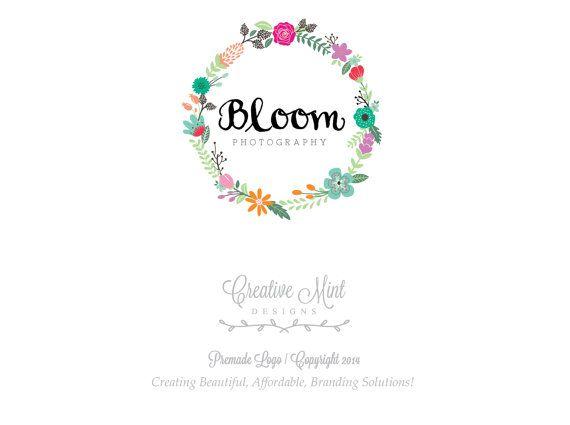 Premade (Floral) Wreath Logo Design. Photography & Boutique Small Business Logo