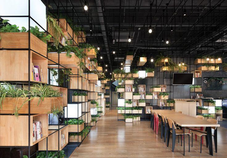 recycled steel bars form modular café interior by penda - designboom | architecture