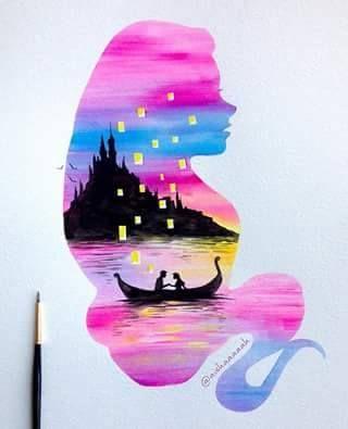 Double Exposure Watercolor Art by aishaaaaah