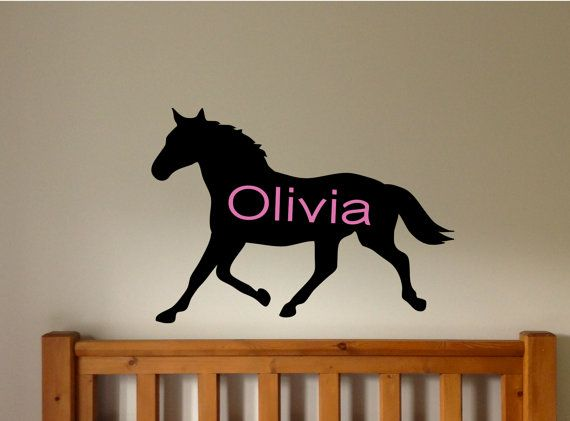 Horse wall decal personalized wall decals horse room for Bedroom ideas for horse lovers