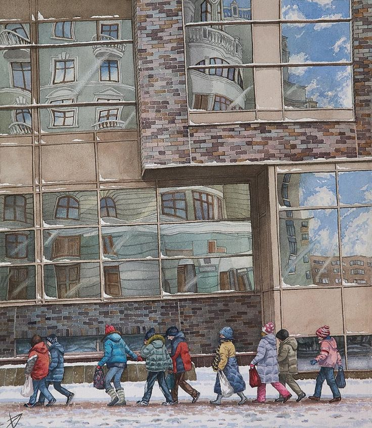 #Moskow #art #watercolor #citylandscape #AlenaDergileva