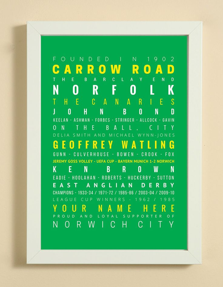 Norwich City Football Club Word Art Design Print - Words, Names And Facts Associated With  Norwich City FC - In White Or Black A4 Box Frame