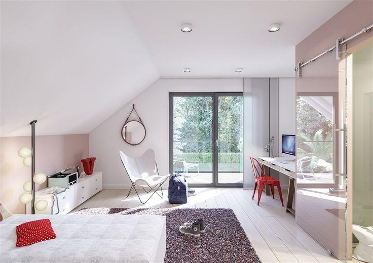 Schräg, aber hell. Ein Schlafzimmer mit Ausblick. #Schlafzimmer # Fertighaus #BienZenker #Haus