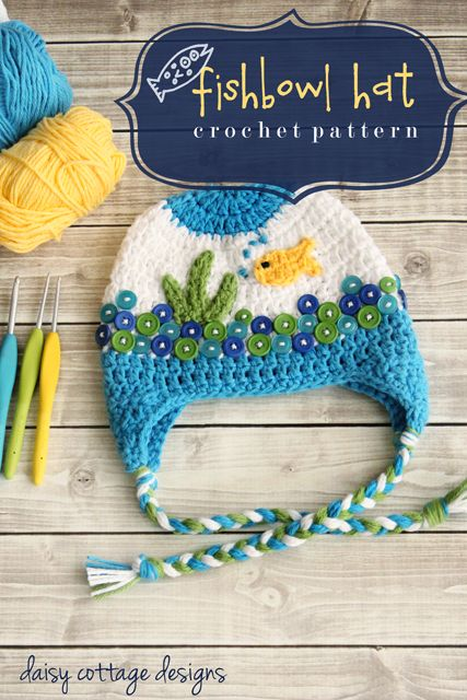 This unique and original FREE! fishbowl hat pattern is simply adorable. It's fun use of buttons and adorable appliqués guarantee it will be a hit when your little one is seen wearing it.