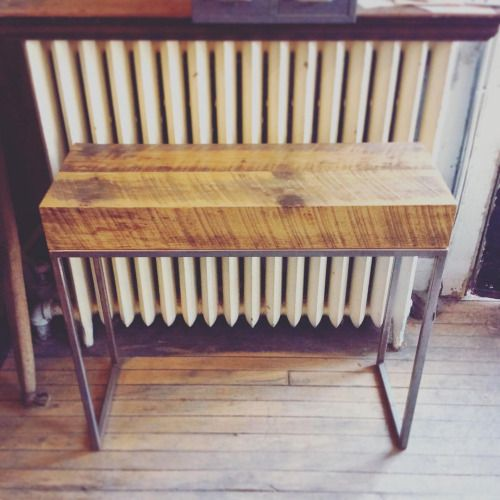 Thick reclaimed wood bench seat