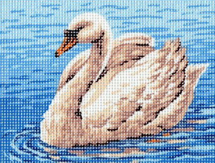 THE SWAN, SMALL NEEDLEPOINT CANVAS :: Animals, Wild Life, Birds :: Needlepoint Canvases-Printed :: Jackie's NeedleArt Mania - Discount Needlepoint Products and More: Crewel Embroidery, Counted Cross Stitch, Stamped Embroidery