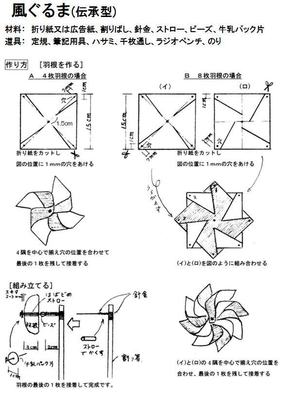 牛乳パックの風車 もご参照ください。折り紙(10cm×10cm)を使用して4枚ばねにするとよく回ります。 【おもちゃおじさん】