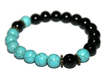 Turquoise Bracelet Men Jewelry Gift for Father Gift for Son Black Agate Bracelet Healing Mala Male Bracelet Fashion Turquoise Jewelry
