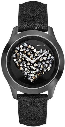 GUESS Black Crystal Heart Watch GUESS. $80.59. Womens jewelry. water resistant. analog movement. watch. 10 year limited warranty
