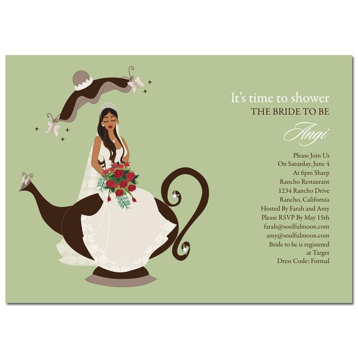 recipe themed bridal shower invitation wording%0A African American Bridal Shower Invitations  Bridal Tea Party