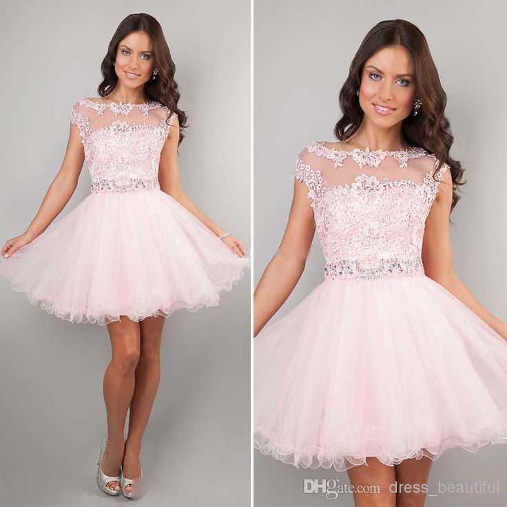 2014 Cute Short Prom Dresses Pink High Neck Beaded Applique See Through Cheap Junior Girls Graduation Dresses Party Dresses Homecoming Gowns