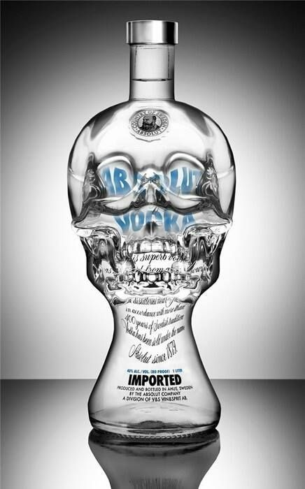 Skull vodka bottle