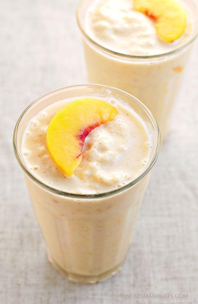 Easy Peach Fruit Smoothie from She Wears Many Hats peach, vanila yogurt, coconut milk, cinammon