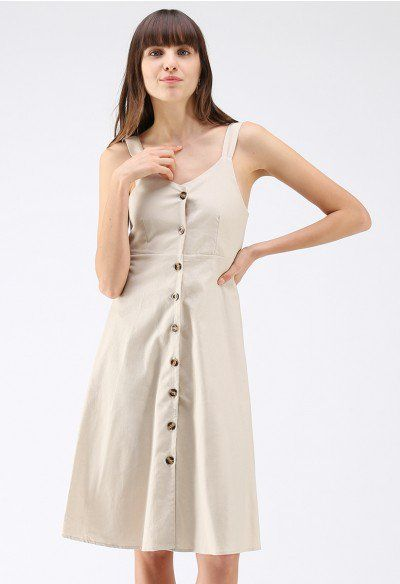 6de56eba7d9 Holiday Essential Button Through Cami Dress in Linen