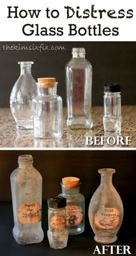 How to distress glass bottles to make them look old and antique.. A great creepy look for halloween