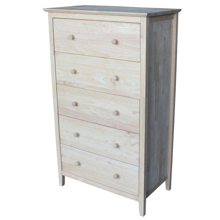 International Concepts Brooklyn 49.5 in. H x 29.5 in. W 5-Drawer Chest in Unfinished Wood-BD-8005 - The Home Depot