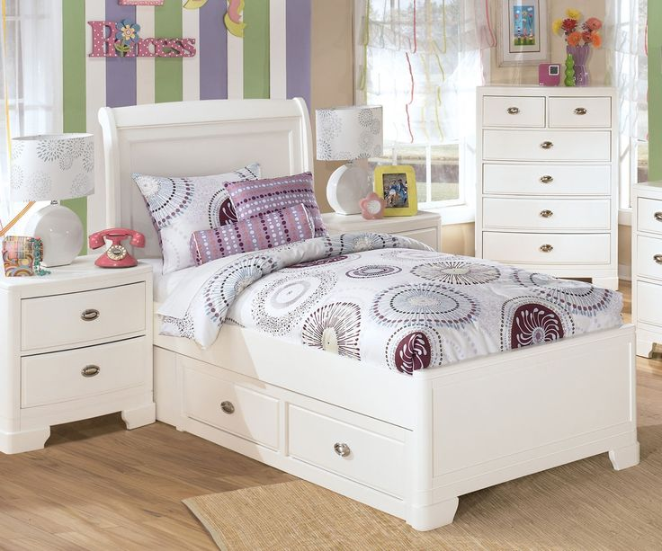 Twin Size Platform Storage Bed Girls White