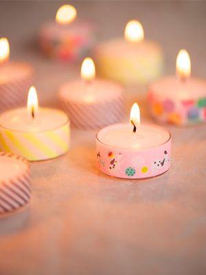 Washi tape around tea light candles