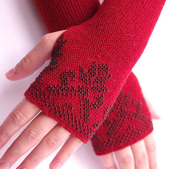 Soft PURE merino wool beaded fingerless gloves/wrist warmers in beautiful red with a flower - READY to ship