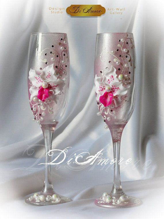 Personalized Wedding glasses from the collection Art by DiAmoreDS, $45.00