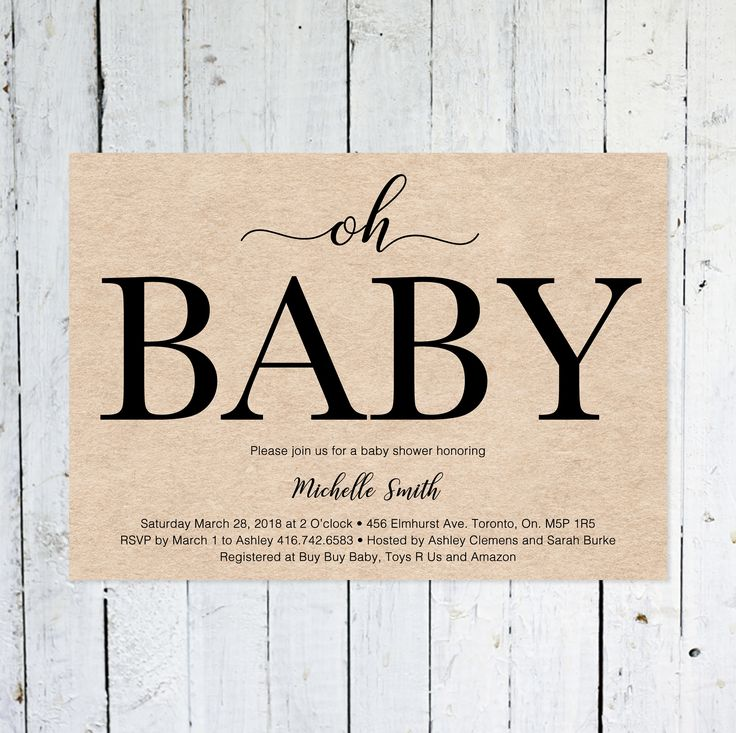 Baby Shower Invitation, Gender Neutral, Oh Baby, Kraft Paper, Horizontal, Modern, Simple, Printable, Printed
