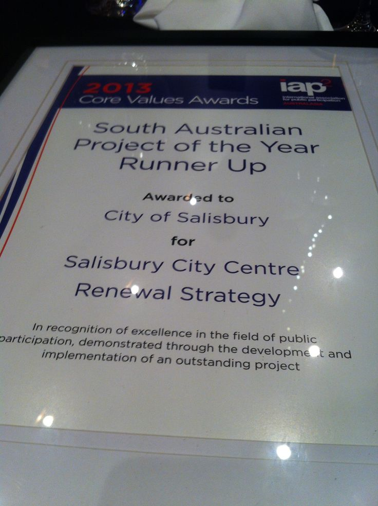 Here's a picture of our City of Salisbury Salisbury South Australia's runners up award at the Best Practice Community Engagement conference held by @IAP2A in Adelaide, Sept 9-11 2013. We got the award for our Salisbury Town Centre renewal community engagement strategy #BPCE13