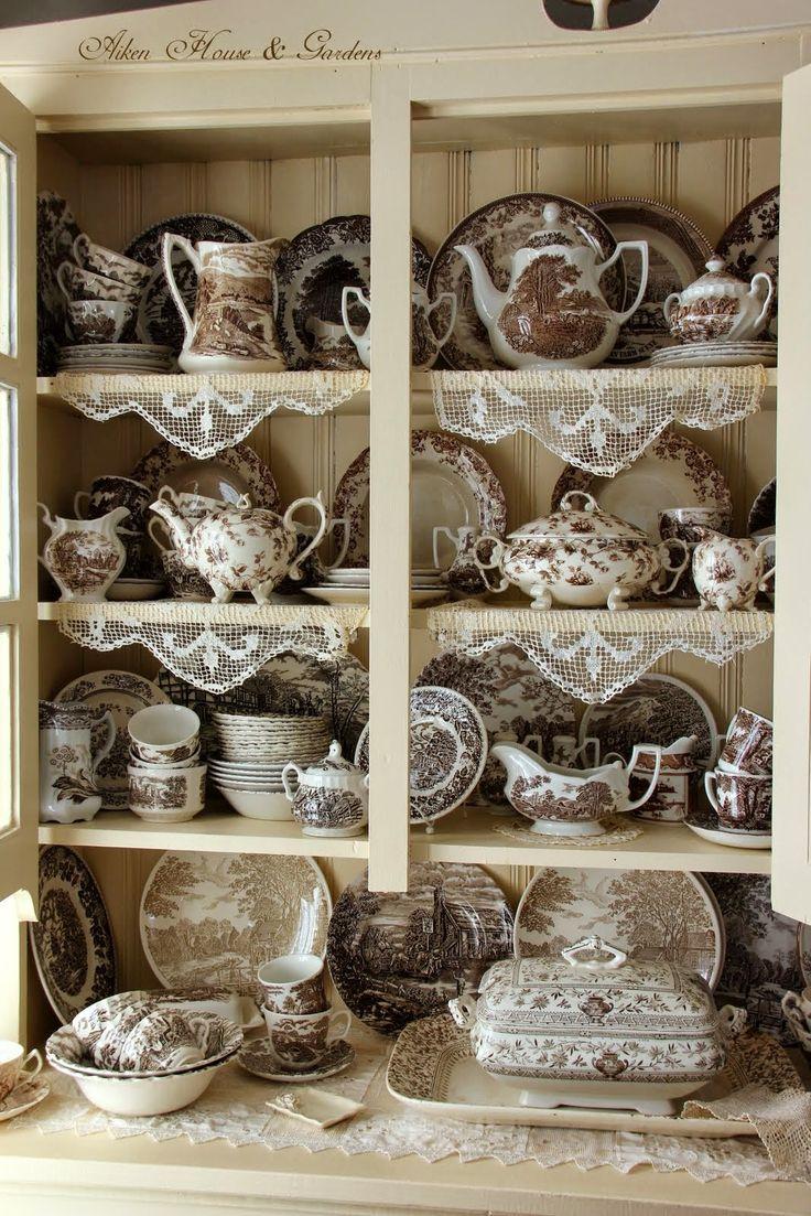 Brown Transferware ~ Aiken House & Gardens: My Cupboard of Brown & White Transferware #transferware