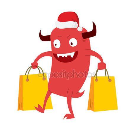 Karikatura roztomilý příšery vánoční prodej nakupování vektor — Stocková ilustrace #92360972