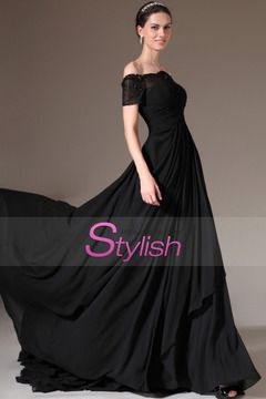 2014  Prom Dress Off The Shoulder Ruched Bodice A Line With Layered Chiffon Skirt Court Train $ 179.99 STP7F343TG - StylishPromDress.com