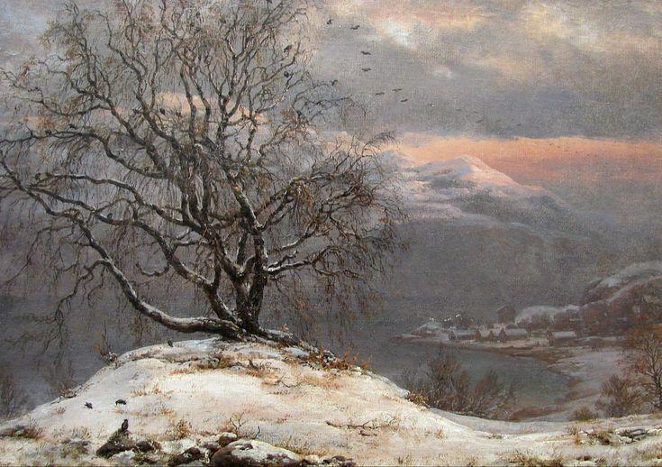 Birch Tree in Winter: 1838 by Johan Christian (J.C.C.) Dahl (Ny Carlsberg Glyptotek - Copenhagen) - Romanticism