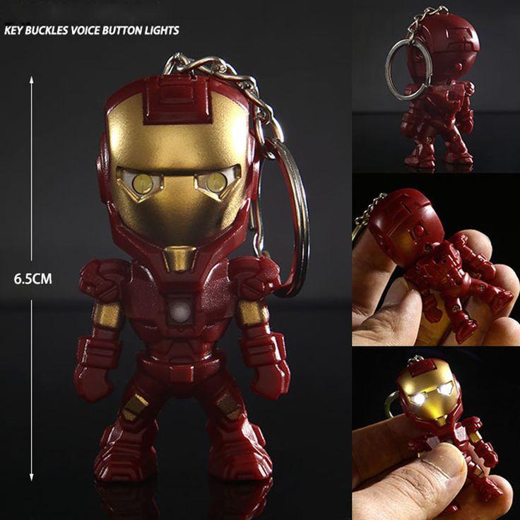 Klassische Iron Man Anhänger Keychain The avengers allianz LED schlüsselanhänger Mini PVC Action Figure mit LED-Licht & Sound schlüsselanhänger ZKAM