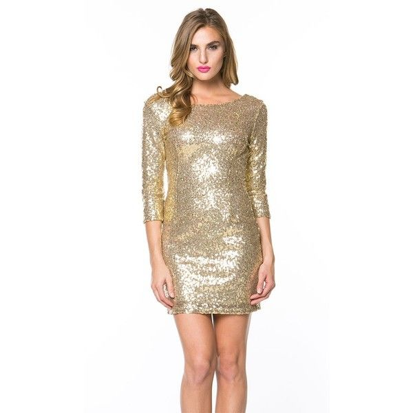 Shimmering Bodycon Dress with Sleeves in Gold ($39) ❤ liked on Polyvore featuring dresses, brown dress, sequin bodycon dress, gold cocktail dress, gold shimmer dress and 3/4 length sleeve dresses
