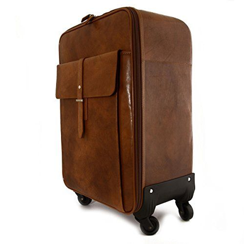 Genuine Leather Travel Trolley With Front Pocket And Multi-directional Wheels Color Brown