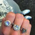 Happy hippies Moonstone rings rainbow maansteen bohemian ringen