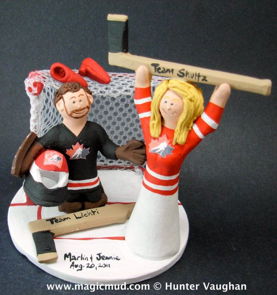 Team Canada Hockey Wedding Cake Topper, Hockey Bride and Groom Wedding Cake Topper, Hockey Wedding Anniversary Gift, Hockey Wedding Statue    Hockey Wedding Cake Topper, custom created for you! Handmade to your specifications by magicmud.com of kiln fired clay. Perfect one of a kind personalized keepsake for a NHL Hockey Wedding.    $235 #magicmud 1 800 231 9814 www.magicmud.com