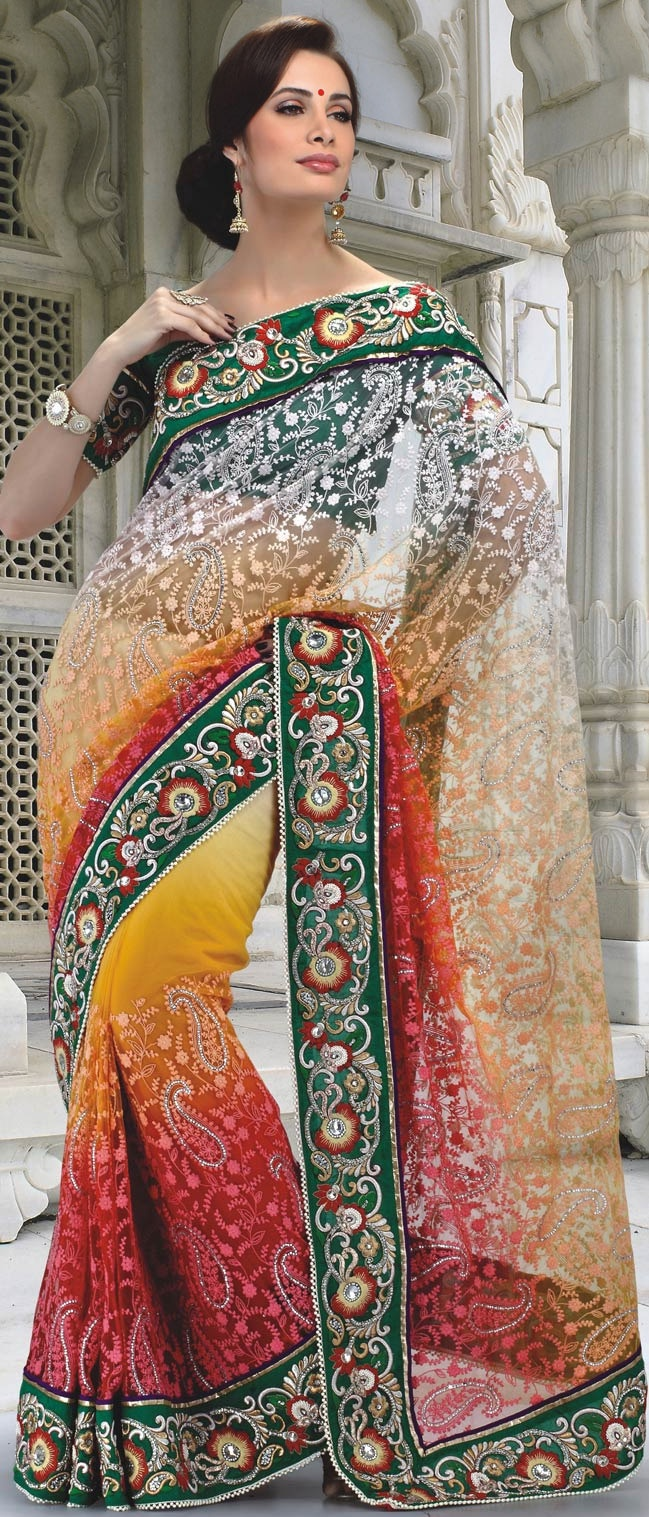 Off White, Red and Yellow Net Saree with Blouse @ $197.96 | Shop @ http://www.utsavfashion.com/store/sarees-large.aspx?icode=ssx3667