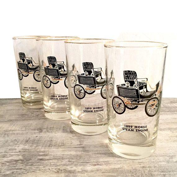Vintage Glasses 1899 Mobile Steam Engine Vehicle #Setof4 #DrinkingGlasses #Steampunk #SteamEngine #1899 #MobileSteamEngine #SteampunkDecor #19thCenturyTransportation #Vintage