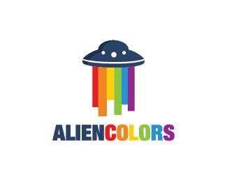 Alien Colors Logo design - UFO logo design with colors as the light ray beneath it. Price $299.00