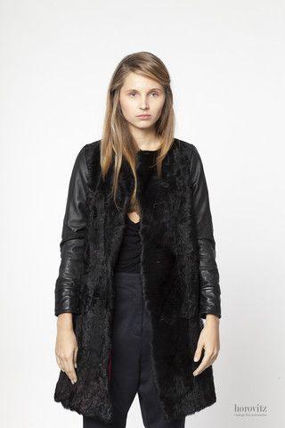 black calfskin coat with leather sleeves – horovitz