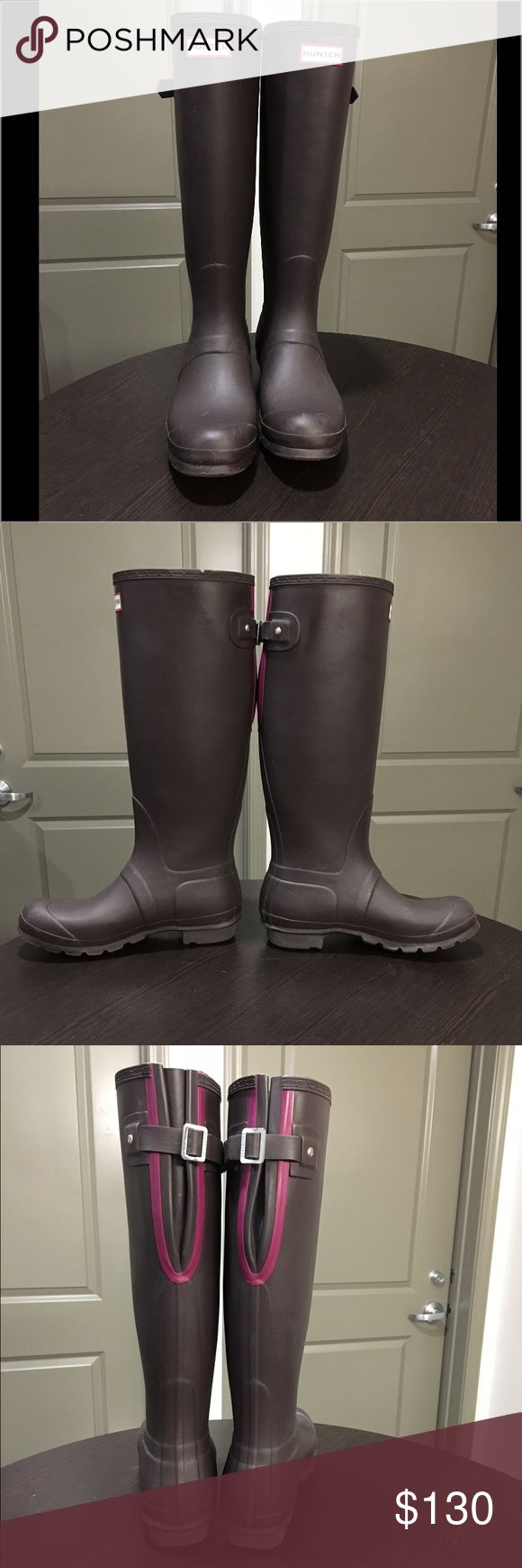 Dark Brown Hunter Rain boot. Size 9. Dark brown, tall Hunter rain boot. Size 9. Worn very few times, size is too large for me. Pink detail on back. Looks almost black, it is a very dark brown color. Hunter Boots Shoes Winter & Rain Boots