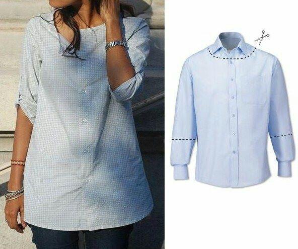 Customizar camisa de hombre (de camisa de hombre a blusa de mujer)